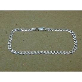 Sterling Silver Bevelled Edge Curb Ladies Bracelet
