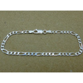 Sterling Silver Ladies Figaro Bracelet