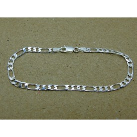 Sterling Silver Medium Weight Figaro Bracelet