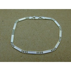 Sterling Silver Double Bar and Bead Ladies Bracelet
