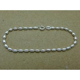 Sterling Silver Bean Link Bracelet