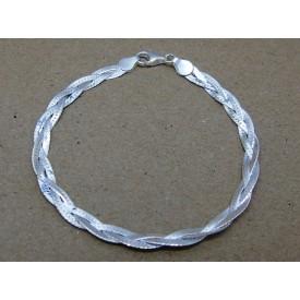 Sterling Silver Plaited Herringbone Bracelet