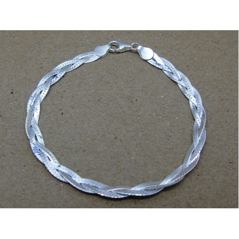 Sterling Silver Plaited Herringbone Bracelet