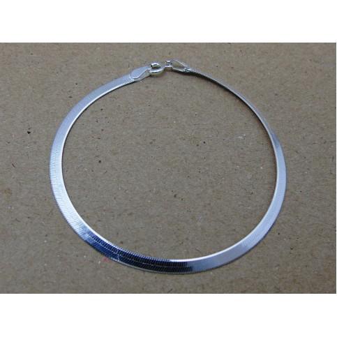 Sterling Silver 3mm Herringbone Bracelet