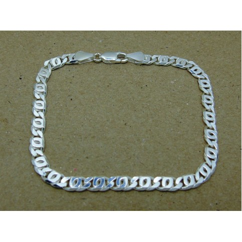 Sterling Silver Double Curb Gents Bracelet