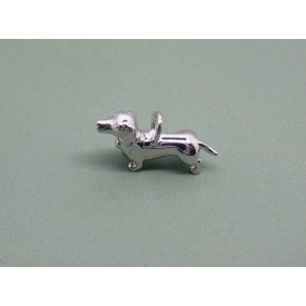 Sterling Silver Dachshund Charm with Diamond