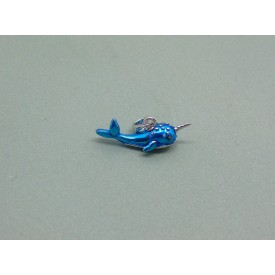Sterling Silver Blue Enamel Narwhal Charm