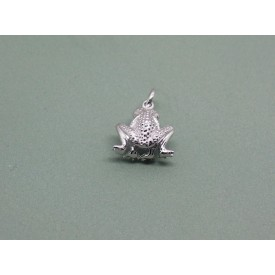 Sterling Silver Sitting Frog Charm