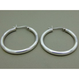 Sterling Silver Hinged Creoles 30mm