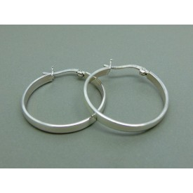 Sterling Silver Ladies Flat Hinged Creoles