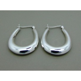 Sterling Silver Plain U-Shape Hinged Creoles