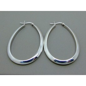 Sterling Silver Oval Plain Hinged Creoles