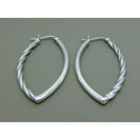 Sterling Silver Decorative Oval Creoles