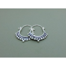 Sterling Silver Decorative Creole Earrings