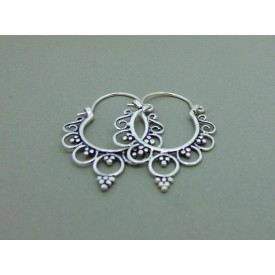 Sterling Silver Ornate Beaded Creole