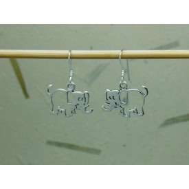 Sterling Silver Open Elephant Earrings