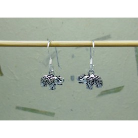 Sterling Silver Ornate Elephant Earrings