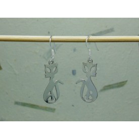 Sterling Silver Cat Drop Earrings