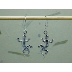 Sterling Silver Gecko Drop Earrings