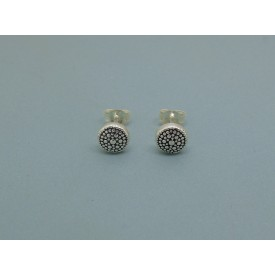 Sterling Silver Ornate Button Studs