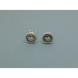 Sterling Silver Decorative Heart Studs
