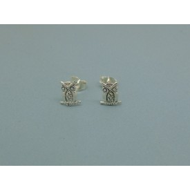 Sterling Silver Wise Old Owl Studs
