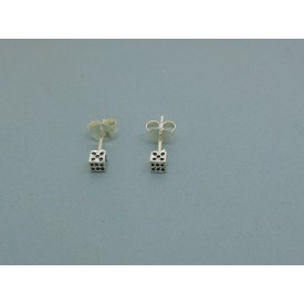 Sterling Silver Dice Studs