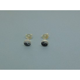 Sterling Silver Yin and Yang Studs