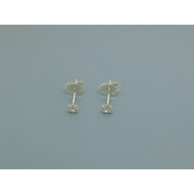 Sterling Silver 3mm Cubic Zirconia Studs