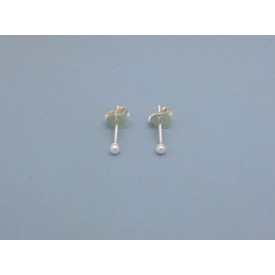 Sterling Silver 2mm Pearl Bead Studs
