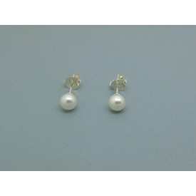 Sterling Silver 5mm Pearl Bead Studs