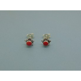 Sterling Silver Flower Studs Red Stone