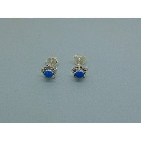 Sterling Silver Flower Studs Blue Stone