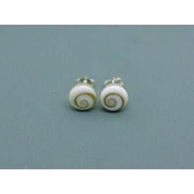 Sterling Silver Round Shiva Shell Studs