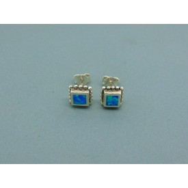Sterling Silver 7mm Square Man Made Opal Studs
