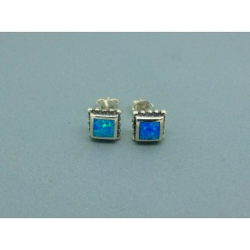 Sterling Silver 7.5mm Square Man Made Opal Studs