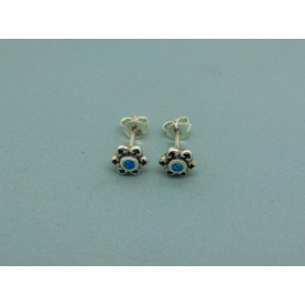 Sterling Silver Man Made Opal Flower Studs