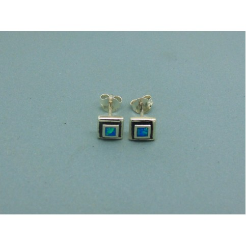 Sterling Silver 6mm Square Man Made Opal Studs