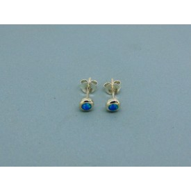 Sterling Silver 4.5mm Round Man Made Opal Studs