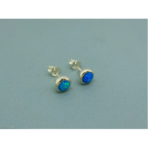 Sterling Silver 6.5mm Round Man Made Opal Studs