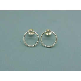 Sterling Silver 12mm Round Cut Out Studs