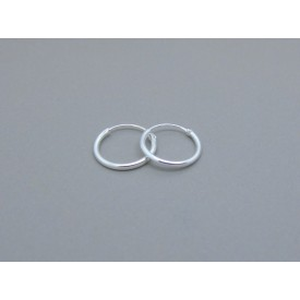 Sterling Silver Light 12mm Plain Hoops