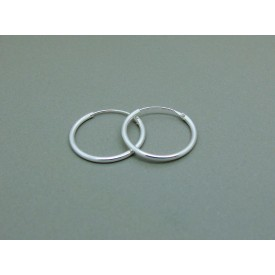 Sterling Silver Light 16mm Plain Hoops