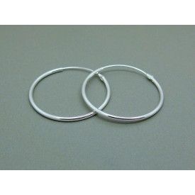 Sterling Silver Light 24mm Plain Hoops
