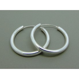 Sterling Silver Heavy Plain Hoops 30mm