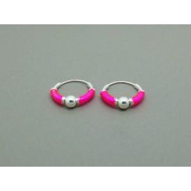 Sterling Silver Hoop - Pink