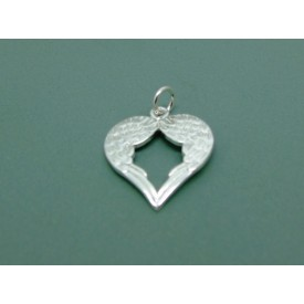 Sterling Silver Angel Wing Heart Pendant