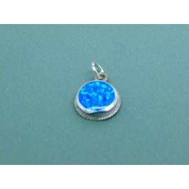 Sterling Silver Circular Opal Pendant