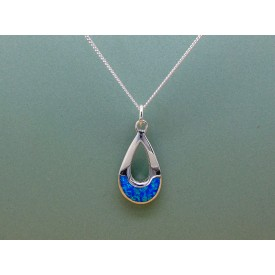 Sterling Silver Tear Drop Opal Pendant