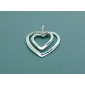Sterling Silver Open Double Heart Pendant